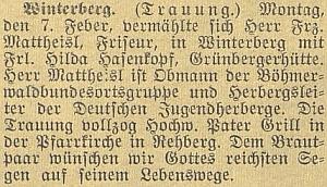 Zpráva o jeho sňatku dne 7. února roku 1938 ve Vimperku na stránkách českobudějovického německého listu