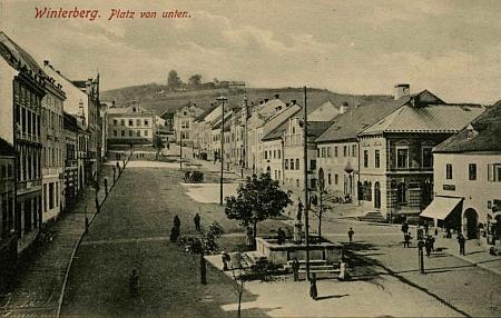 Vimperk na pohlednici Josefa Seidela z doby Matheislova narození