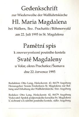 Obálka titulní list pamětního spisu (1995)