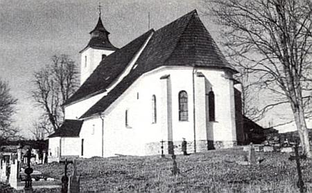 Text nekrologu doprovázel tento snímek opraveného  kostela ve Zbytinách