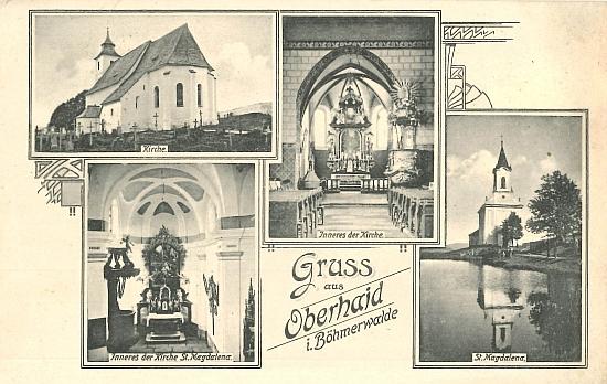 Zbytinský kostel sv. Víta a poutní kostel Svatá Magdalena na pohlednici z roku 1917