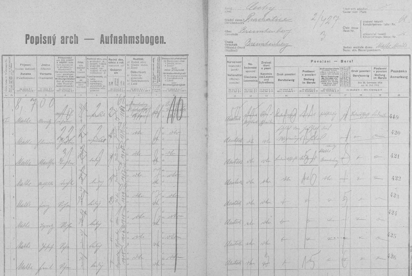 Arch sčítání lidu z roku 1921 pro stavení čp. 68 ve Spálenci s rodinou Matheovou