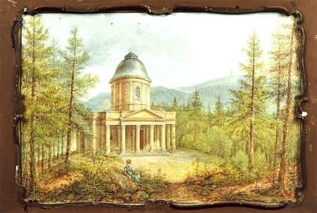 Ptačí hrádek u Českého Krumlova na kvaši Ferdinanda Runka z roku 1828