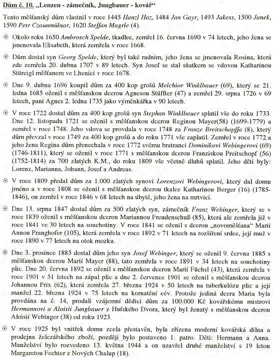 Historie hornoplánského domu čp. 10, odkud pocházela její matka Maria , roz. Webingerová