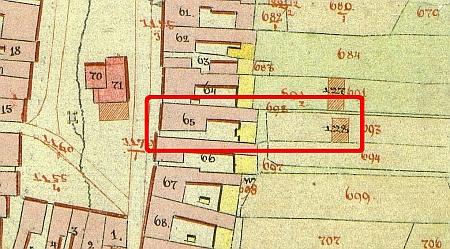 Objekt rodného domu zvýrazněný na mapě stabilního katastru z roku 1827