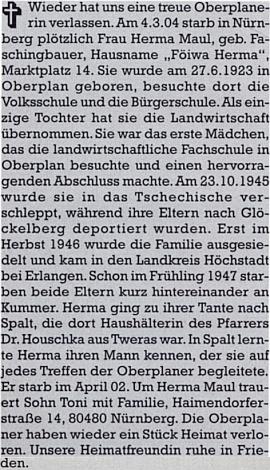 Nekrolog na stránkách krajanského měsíčníku napsala Traudl Woldrichová