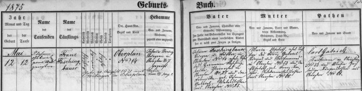 Záznam hornoplánské křestní matriky o narození otcově s přípisem o jeho zdejší svatbě 30. srpna roku 1921 s Marií Webingerovou