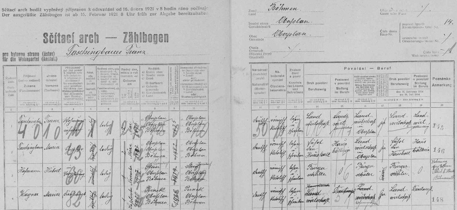 Otcovou rukou vyplněný arch sčítání lidu z roku 1921, tedy dva roky předtím, než se narodila, pro dům čp. 14 v Horní Plané - dosud neženatý otec Franz Faschingbauer a jeho sestra Maria měli tu v péči čtrnáctiletého Huberta Hofmanna ze Lštína (Irresdorf) a jako služebná děvečka (Dienstmagd) s nimi bydlila Maria Wagnerová z Perneku
