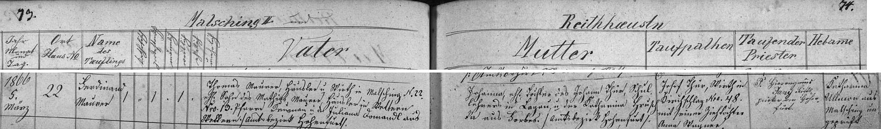 Záznam o jeho narození a křtu v matrice farní obce Malšín