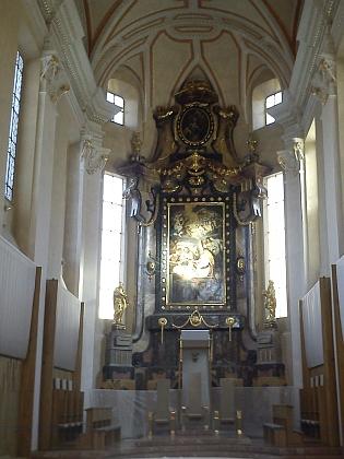 Obraz se zpodobením sv. Mikuláše na hlavním oltáři českobudějovické katedrály, připisovaný Georgu Bachmannovi