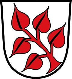 Znak bavorské obce Frauenau, jejímž byl vletech 1890-1894 starostou: vestříbrném poli šikmo položená pětilistá snítka lípy