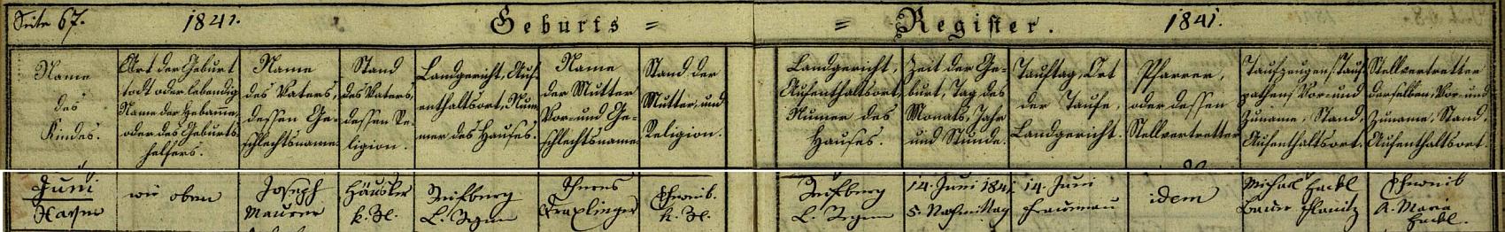 Záznam o jeho narození 14. června 1841 v matrice farní obce Frauenau