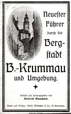 """Obálka (1923) jeho průvodce po """"horním městě"""" Český Krumlov a okolí"""
