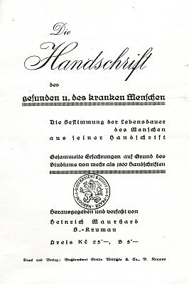"""Obálka (asi 1935) jeho knižního titulu o """"rukopisu zdravého anemocného člověka"""", oba tituly vydala českokrumlovská tiskárna anakladatelství Ottilie Wiltschkové"""