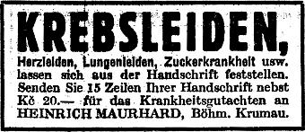 ... a inzerát v pražském německém listu, který ukazuje, že v tomto oboru i podnikal