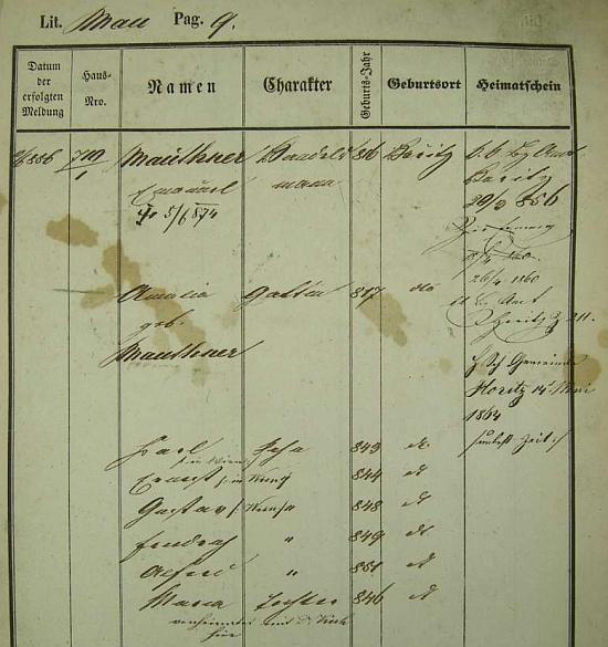 Pražská policejní přihláška obchodníka z Hořic v Podkrkonoší Emanuela Mauthnera, jeho otce, i s datem jeho úmrtí a jmény manželky Amalie, roz. Mauthnerové, a šesti dětí