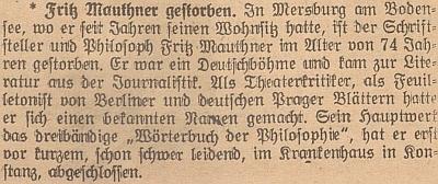 Zpráva o jeho úmrtí v salcburských novinách