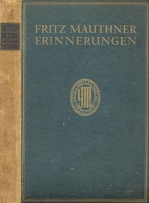 Obálka (1918) prvního svazku jeho vzpomínek (nakladatel Georg Müller, Mnichov)...