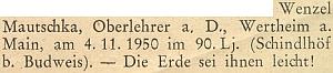 Drobná zpráva o úmrtí jeho devadesátiletého otce v listopadu 1950 na stránkách krajanského měsíčníku