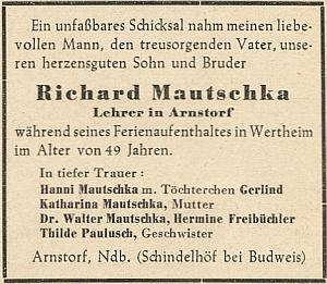 Parte jeho nevlastního bratra Richarda, prozrazující, že Hans měl ještě další nevlastní sourozence Waltera  a Thildu, pocházející z otcova druhého manželství
