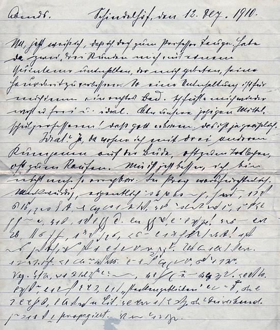 Stránka z jeho deníku, psaná 12. prosince 1910 v Šindlových Dvorech, je z poloviny psána těsnopisem z důvodů, které asi znal toliko on