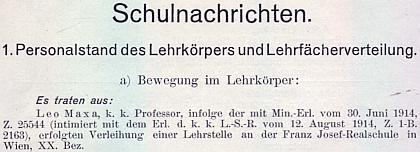 Záznam o jeho odchodu z prachatického gymnázia ve výroční zprávě ústavu