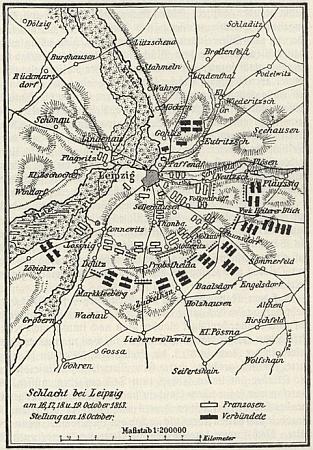 Mapka bitvy u Lipska