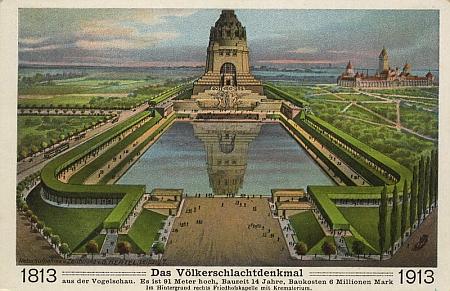 """Památník """"bitvy národů"""" u Lipska na jubilejní pohlednici z roku 1913"""