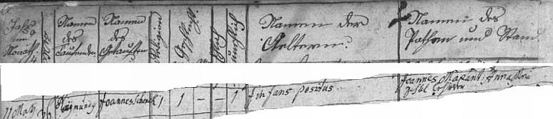 """Záznam o kmotrovství Maxanta a jeho ženy při křtu odloženého dítěte, doprovozený ve frymburské matrice latinskou poznámkou """"infans positus"""""""
