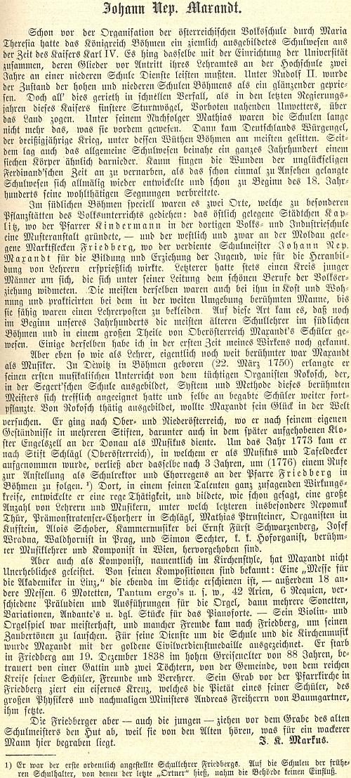 Jordan Kajetan Markus napsal o něm tento texz, zdůrazňující Maxantův jihočeský a frymburský původ