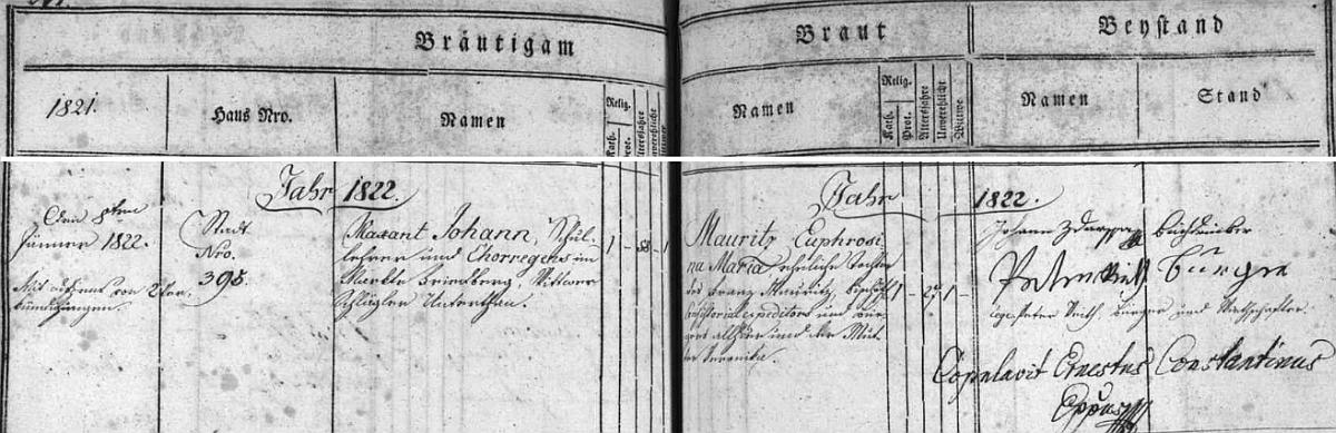 Záznam českobudějovické oddací matriky o jeho druhé svatbě s Euphrosinou Mauritzovou - jako oddávající je tu podepsán sám biskup Růžička