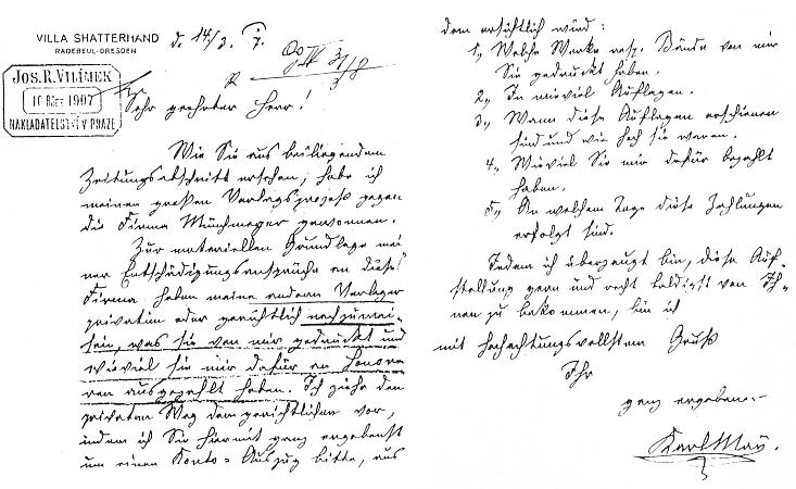 """Dopis nakladateli Vilímkovi z vily """"Shatterhand"""""""