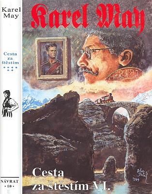 """Obálka (1999) jednoho z dílů Mayova románu """"ze života Ludwiga II.""""  vydaného v Brněnakladatelstvím Návrat a začátek kapitoly, svědčící neklamně o místě děje"""