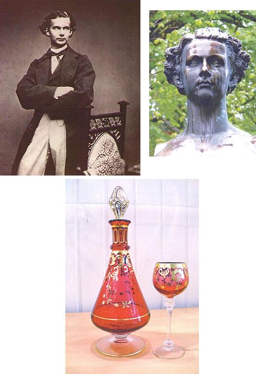Král Ludvík II. Bavorský prý rád pil ze zlatorubínového skla z Theresienthalu na bavorské straně Šumavy, kde místní skláři vyhotovili panovníkovi speciální nápojový servis