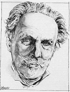 Tvář jako živá na kresbě, pod níž je podepsán Carl-Heinz Dömken