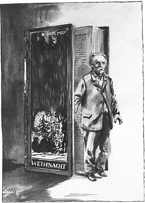 """Na kresbě, jejímž autorem je také Carl-Heinz Dömken, vystupuje ze stránek své knihy """"Vánoce"""""""