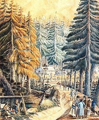 Jiná z kolorovaných grafik s námětem stavby kanálu ve fondu českokrumlovského archivu
