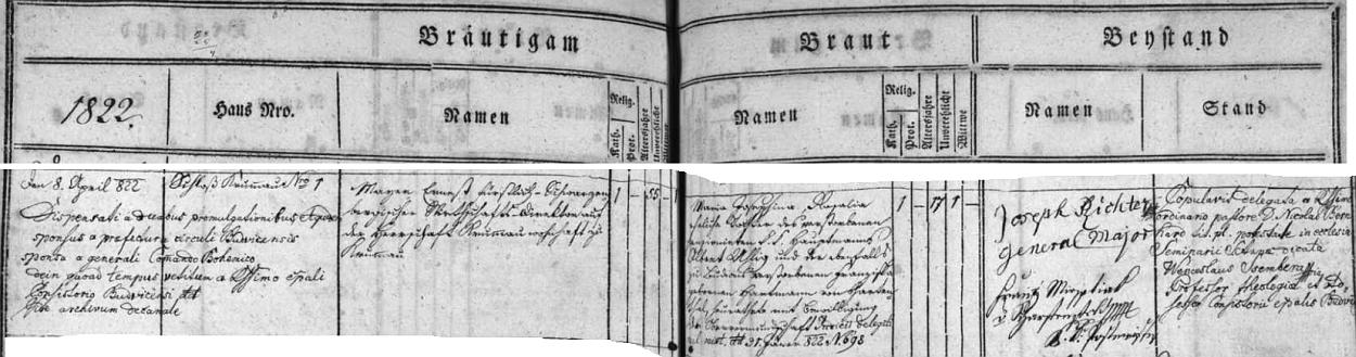 Z tohoto záznamu českobudějovické oddací matriky o jeho třetí svatbě vyplývá, že byl nejen švagrem Gottfrieda Uhliga von Uhlenau, nýbrž že byl spřízněn i s rodinou Hartmannů z Hartenthalu, z níž pocházel Emil Hartmann von Harthenthal