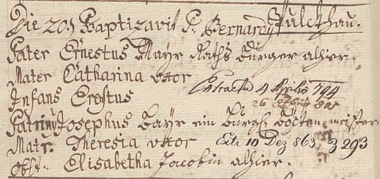 Záznam o jeho narození v křestní matrice dolnorakouské farní obce Pulkau