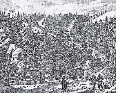 Zimní svážení dřeva ke Schwarzenberskému kanálu na litografii Antona Schiffera z knihy Beschreibung der großen Schwemmanstalt