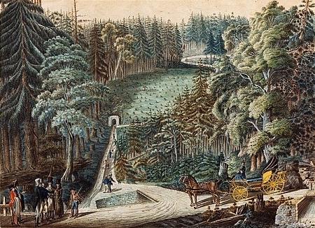 Kolorovaná perokresba Josefa Langweila zachycuje návštěvu knížete Josefa a ředitele Mayera u dohotoveného tunelu v roce 1823