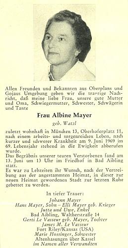 Úmrtní oznámení jeho ženy (1969) vkrajanském měsíčníku Hoam!