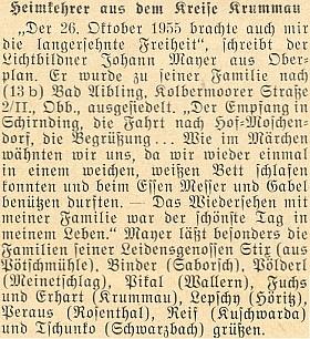 Tady podává na stránkách krajanského měsíčníku on sám zprávu o svém propuštění z československého vězení v říjnu roku 1955
