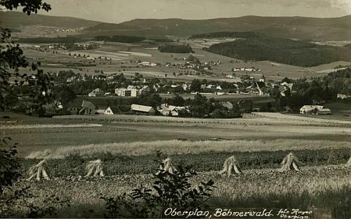 Horní Planá na jeho pohlednici z roku 1940