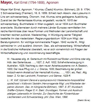 Jeho heslo v rakouském životopisném lexikonu