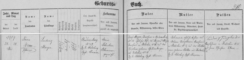Záznam ondřejovské křestní matriky o jeho narození