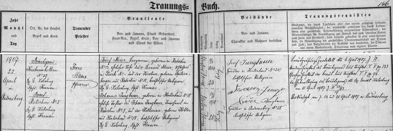Záznam ondřejovské oddací matriky o svatbě jeho rodičů