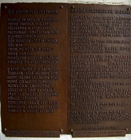 Pamětní deska na zdi želnavského kostela