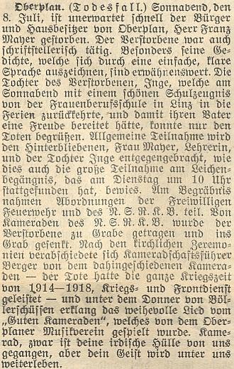 Nepodepsaný nekrolog v budějovickém listě