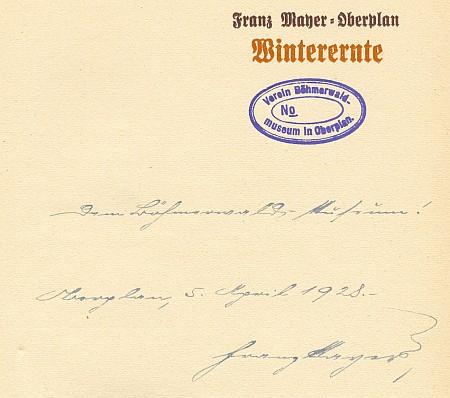 Obálka a věnování jeho sbírky básní Šumavskému muzeu v Horní Plané